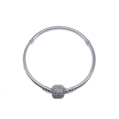 PANDACHARMS Pulsera de plata de ley 925 para niñas, para abalorios, longitud de 16 cm, compatible con Pandora