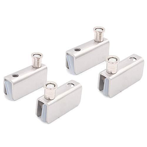 2個のNUZAMASキャビネットドアピボットヒンジセットの上下取り付け、ドアヒンジラッチ、ドアラッチガラスクランプセット、小