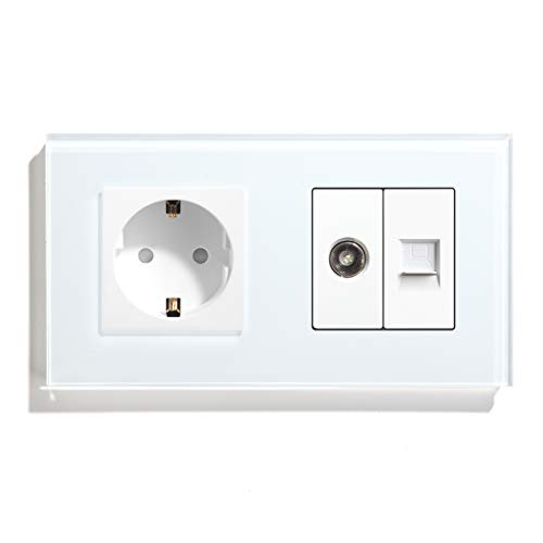 BSEED Enchufe de pared con 1/2 PC+ TV,Antena de TV coaxial y Ethernet RJ45 Cat5e,Panel de cristal Schuko Enchufe Blanco toma Doble 16A a 250V enchufes de extensión 157mm