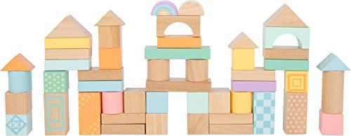 Small Foot 11722 Holzbausteine Pastell, 50-teiliges Set zur Förderung der Kreativität, ab 12 Monaten Toys