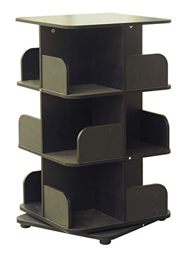 Kings Brand Furniture - 3-Tier Revolving Bookcase Bookshelf, Media Storage Cabinet, Black