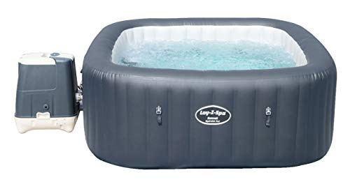Bestway 54291 Spa gonflable Lay-Z-Spa™ Ibiza Airjet™, 4 à 6 personnes, carré 180 x 180 x 66 cm, 96 jets d'air, couverture isolante, filtration à cartouche antimicrobienne, diffuseur Chemconnect™