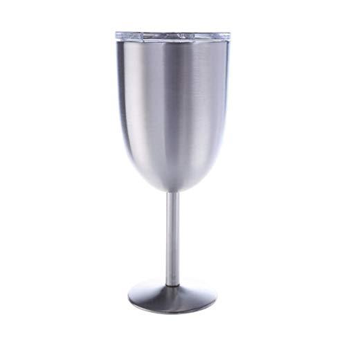 Copas De Vino De Acero Inoxidable 300 Ml Vidrio De Acero Inoxidable De Acero Inoxidable Grande para Todos Los Días (Color : Silver)