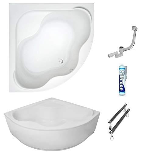 ECOLAM symmetrische Badewanne Eckwanne Samanta mit Sitz 140x140 cm Acryl weiß + Schürze Ablaufgarnitur Ab- und Überlauf Automatik Füße Silikon Komplett-Set (140x140 cm)