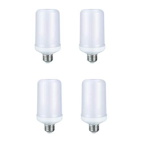 LED-Glühbirnen mit Flammeneffekt, E27 7W 500 Lumen, realistische 99-Lampen-Perlen Flackernde Flammenglühbirnen, für Weihnachts/Heim/Hotel/Bar/Partydekoration,4pcs