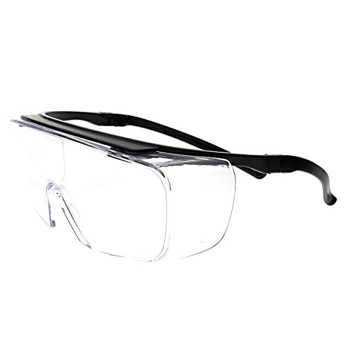 Fitover Safety Glasses Goggles for Eye Protection by ElementsActive | Anti-Fog | Fits over Eyeglasses | Adjustable Temple Fit