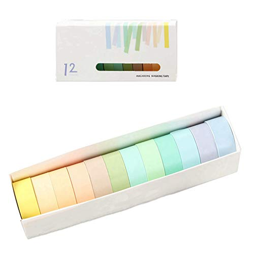Feelairy Washi Tape, 12 Rolls Rainbow Tape Deco Tape Stickers Cintas Adhesivas Macaron Coloridas Cintas Adhesivas de Papel Set para Regalos Embalaje Scrapbooking DIY Craft