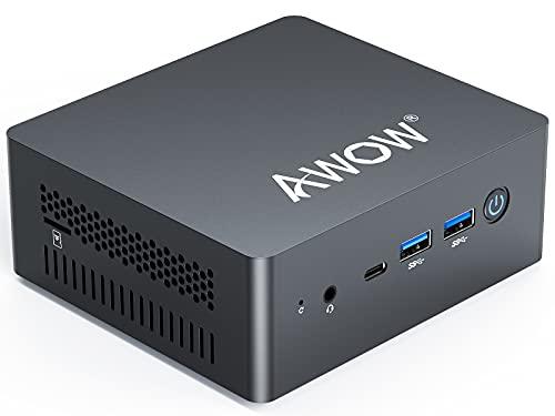 Mini PC Windows 10 Pro, Intel Celeron J4125 con 8 GB DDR4/NVMe M.2 128 GB SSD 4K @ 60 Hz, AWOW AK41 Ordenador de sobremesa Dual HDMI, SSD 2 TB, 2.4 G/5G Dual WiFi, Gigabit Ethernet, USB...