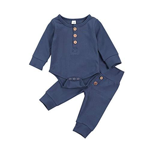 MoccyBabeLee Strampler für Neugeborene, Babys, Jungen, Baumwolle, langärmelig, Hose mit Kordelzug, Schlafanzug mit Hose und Oberteil, 2-teiliges Outfit Gr. 62, Solid Blue