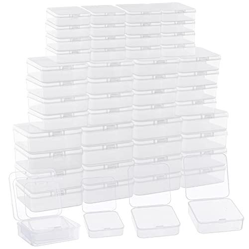 Belle Vous Små Genomskinliga Förvaringslådor av Plast med Hänglock (54 Pack) - Små, Mellan & Stora Lådor - Stapelbara Miniaskar för Piller, Pärlor, Smycken & DIY Pysselföremål.