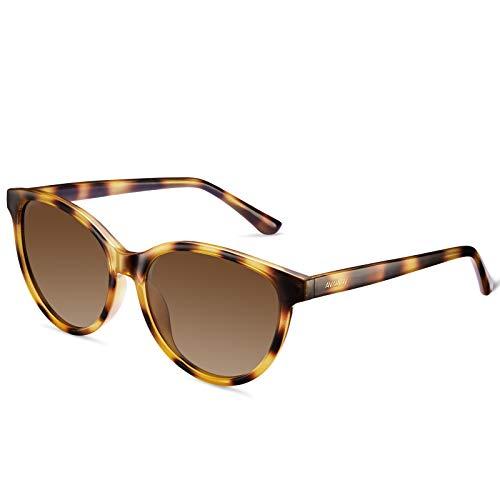AVAWAY Gafas de sol polarizadas retro para mujer, protección UV, gafas de conducción