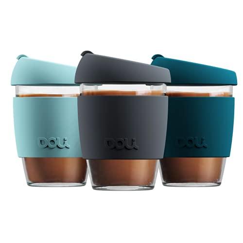 Doli Glas Kaffeebecher to go 340ml I spülmaschinengeeignet und dicht I Kaffee Tee nachhaltig unterwegs I Coffee to go Becher aus Glas I wiederverwendbarer Kaffeebecher Glas (Grey)