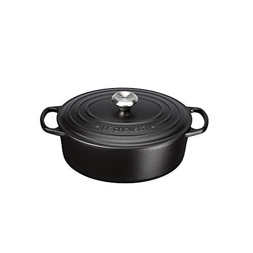 Le Creuset Cast Iron Signature Oval Casserole, 29cm, 29 cm, Matte Black