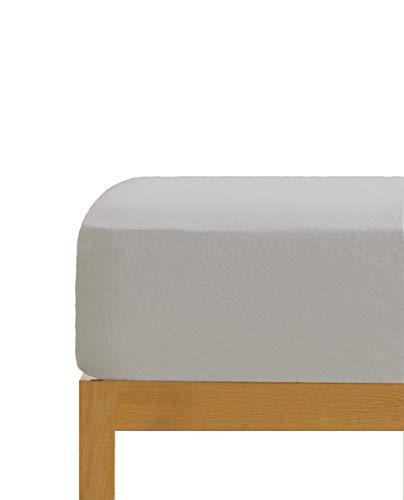 Sábana Bajera Ajustable Gris 100% algodón Cama de 105 cm (105x190/200 cm)