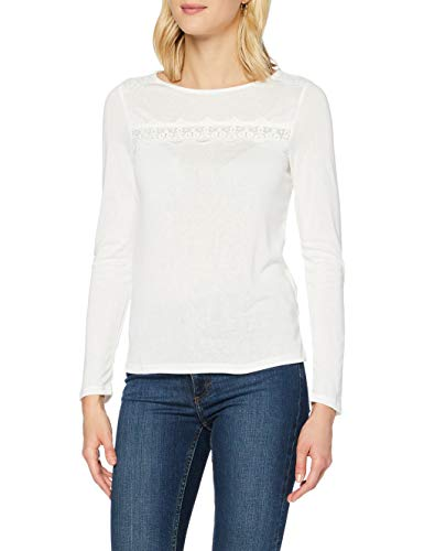 Springfield Camiseta Detalles Puntilla T-Shirt, Blanco, S Womens