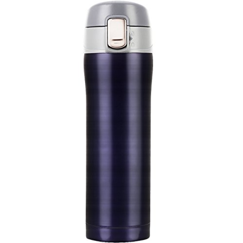 Termo de café, LOMATEE termo de viaje antigoteo doble pared de acero inoxidable sin BPA 420ml con tapa hermética, azul marino