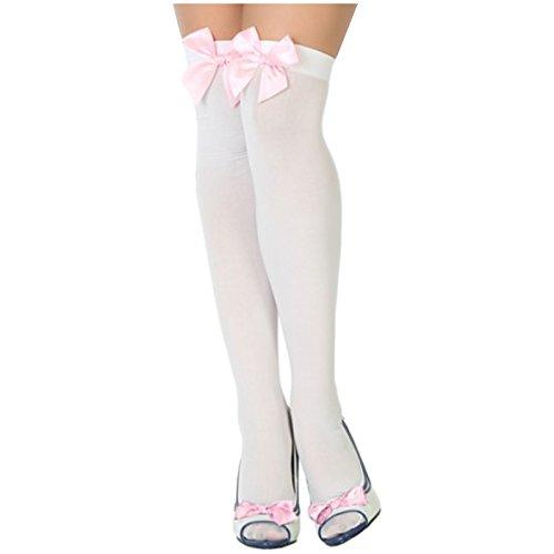 Spassprofi Weiße Kniestrümpfe mit rosa Schleife Überknie Overknee Strümpfe Strumpf Feinstrümpfe