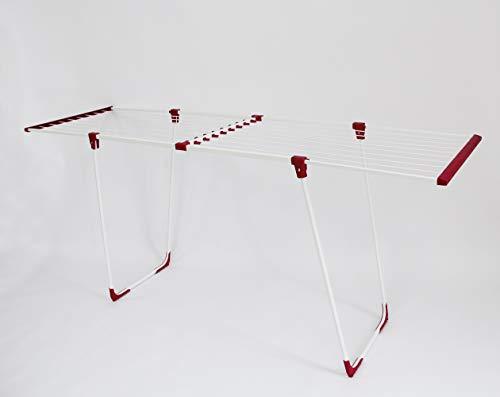 """Casa Si XL Wäscheständer\""""Easy Flex rot\"""" extra hoch und besonders stabil - 20 Meter Trockenlänge - 18 kg Tragkraft - klappbar und ausziehbar"""