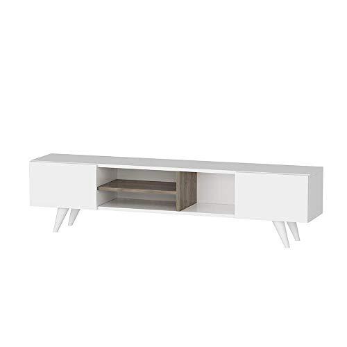 Homemania Mobile Porta TV Dore, Legno, Bianco-Noce, 160x29,7x40,6 cm