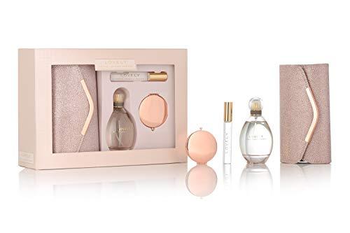Sarah Jessica Parker Lovley Edp Spray de 100 ml, bolígrafo de 10 ml, bolsa de embrague de oro rosa y espejo