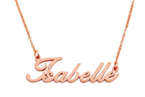 Kigu Isabelle Name Necklace Personalised Rose Gold Plated Inc Crystals, Custom Dainty Name Pendants, Jewellery for Ladies, Girlfriend, Mother, Sister, Friends Inc Bag & Box