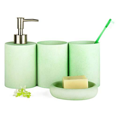 LTCTL Dispensador de loción Conjunto De Accesorios De Baño, Conjunto De Baño De 4 Piezas De Resina Simple, Incluye Dispensador De Jabón,Vaso,Jabonera Cuencos de jabón (Color : Green)