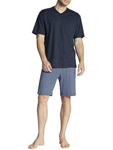 Calida Herren Relax Imprint Basic Pyjama kurz Zweiteiliger Schlafanzug, Dark Sapphire, XL