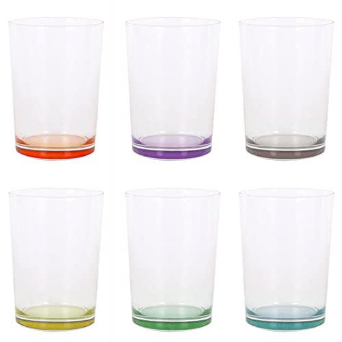Set de 6 Vasos de Agua de Colores Pastel, Vasos de Cristal Multicolor y Transparentes, Aptos para Lavavajillas