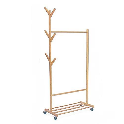 POETRY Coat rack massief hout Creatieve kleding rek Landing kleding rek Slaapkamer houtachtige opslag rack Schuifkleding rek voor garage foyer kantoor kast (grootte: 60 cm)
