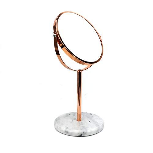 QXHELI Make-up Spiegel, Marmeren Tafelblad Rond Goud Dubbelzijdig 2 X Vergroting