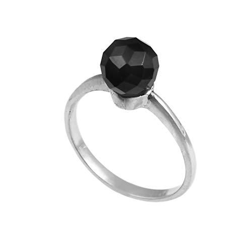 Anillo de plata de ley 925 para mujer|anillo de piedra preciosa natural Ónix negro|Banda de boda para las mujeres|Piedras preciosas anillo, anillo de compromiso|Tamaño del anillo 18.5 r-76