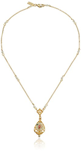"""1928 Jewelry 14k Gold-Dipped Vintage-Inspired Porcelain Rose with Crystal Accent Necklace, 17"""""""