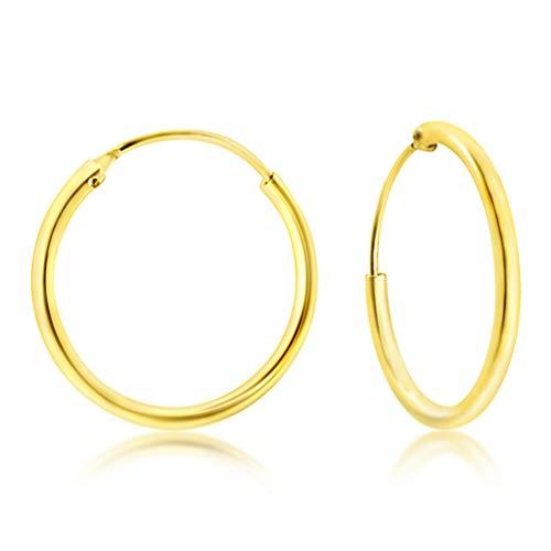 DTPsilver® Groß Creolen Ohrringe 925 Sterling Silber Gelb Vergoldet - Dicke 2 mm - Durchmesser 40 mm