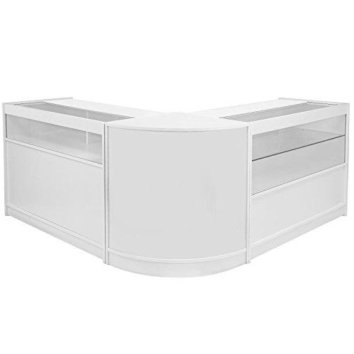 MonsterShop 2 x K1200 1 x CM60 Ladentheke Ladentresen Ladentisch Verkaufstisch Verkaufstheke Kassentisch Empfangstresen Rezeption Theke Tresen Tisch in Brilliant-Weiß