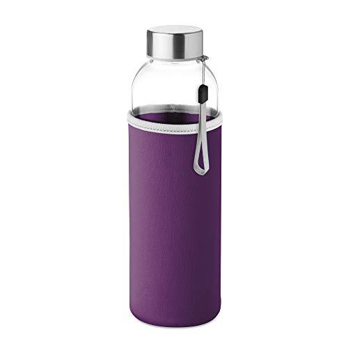 PromotionGift - Botella de cristal con bolsa de neopreno en 500 ml - Morado