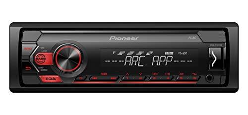 Pioneer MVH-S120UB, 1DIN Autoradio mit RDS, rot, halbe Einbautiefe, 4x50Watt, USB, MP3, AUX-Eingang, Android-Unterstützung, 5-Band Equalizer, ARC App