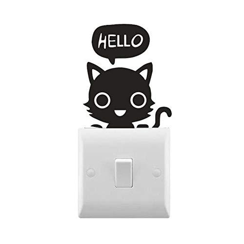 HOHHJFGG Gato dice hola pequeñas pegatinas para interruptores de luz novedad dormir pequeñas calcomanías para interruptores de luz decoración de pared extraíble 10X8 cm