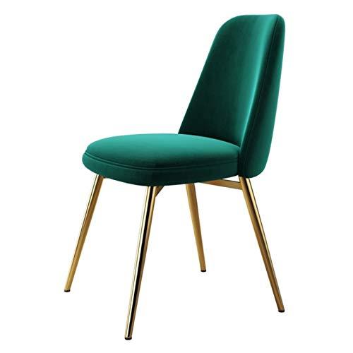 ZCXBHD Sillas de comedor de terciopelo escandinavo para cocina, sala de estar, esquina con patas de metal y respaldo (color verde, tamaño: 1 unidad)