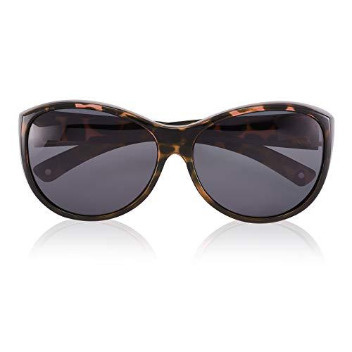 Br'Guras Polarized Oversized Sunglasses Wear over Prescription with Purple Frame for Women&Men (Amber leopard, Black)