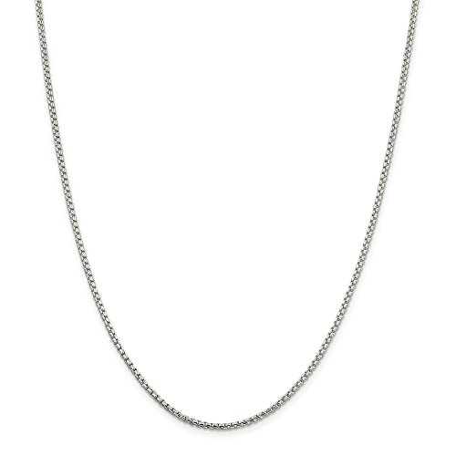 NYC Sterling Unisex Solid Italian 2mm Round Box Chain in Sterling Silver (24')