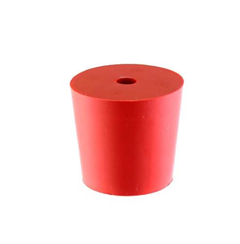 Gummistopfen 27/21mm + 1 Loch (5 mm) - Gummistopfen für Flaschen | Gummistöpsel | Gummi Korken | Gummi Pfropfen | Gummi Kork | Flaschenkorken | Silikon Stopfen