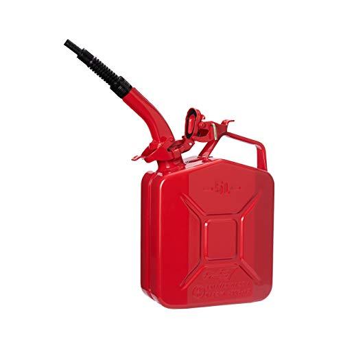 Oxid7 Metall Benzinkanister Rot 5 Liter + Ausgießer flexibel Rot