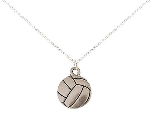 Gemshine Halskette Volleyball Anhänger: Zuspieler, Angreifer, Steller, Blocker, Libero für Spieler, Trainer, Team. Silber oder vergoldet - Sportschmuck Made in Spain, Metall Farbe:Silber