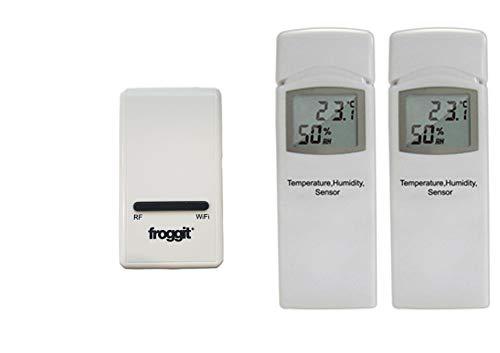 froggit DP1500 Wi-Fi Wetterserver Funk Wetterstation USB Dongle inkl. 2 Thermo-Hygrometer Funksensor