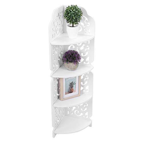 4-poziomowa narożna półka zakrzywiona, ścienna półka narożna Wyświetlacz Rzeźbiona jednostka wodoodporna Łazienka (biała)