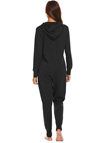 Jumpsuit Damen Onesie Schlafoveralls Jogging Anzug mit Kapuze Trainingsanzug Einteiler Schlafanzug Langarm Strampler Kuscheliges Pyjamas mit Reißverschluss für Frauen Mädchen - 4