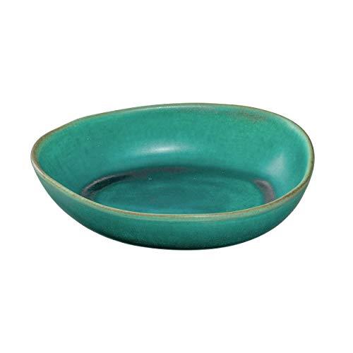 Leonardo Noli Schale aus Steingut, 1 Stück, spülmaschinenfeste Schüssel,mikrowellengeeignete Keramik-Schale, türkis grün, oval, 850 ml, 054631