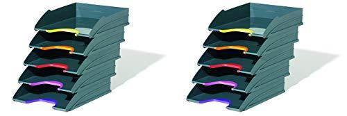 Durable 770557 Briefablagen (Varicolor, Ablagesystem mit 5 Fächern, anthrazit mit farbigen Griffzonen) (10 Ablagefächer)