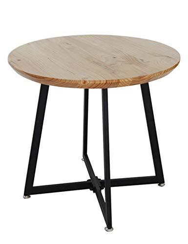 Massief Hout Ronde Koffietafel/Smeedijzeren Bijzettafel, Eenvoudige Effen Hout Eetkamer Eettafel Oude Vrije tijd Hal, Bruin (80×80×75cm)