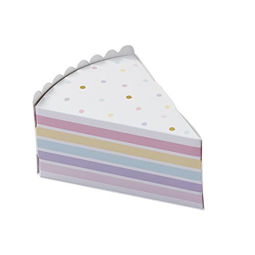 Kate Aspen 28379NA Cake Slice Favor Box (Set Of 12), White/Gold/Pink/Purple and Yellow